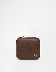 Fred Perry Scotch Grain Zip Around Wallet Brown