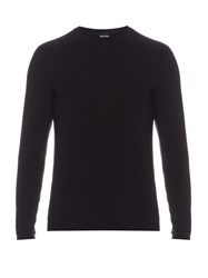 Giorgio Armani Long Sleeved Crew Neck Top Navy