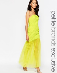Jarlo Petite Felicity Bandeau Maxi Dress With Tulle Skirt Lime