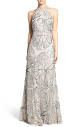 Adrianna Papell Women's Embellished Mesh Fit And Flare Gown