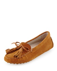 Patricia Green Tassel Suede Driver Moccasin Camel