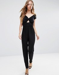 Asos Bardot Twist Jersey Jumpsuit With Peg Leg Black
