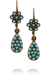 Isabel Marant Nitto Gold Tone Cabochon Earrings Turquoise