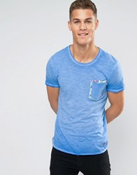 Jack And Jones T Shirt With Floral Pocket Detail Blue