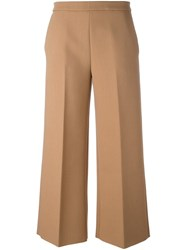Msgm Cropped Wide Leg Trousers Nude And Neutrals