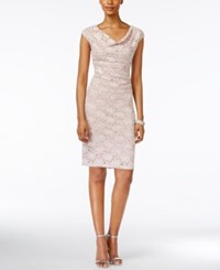 Connected Petite Cowl Neck Lace Sheath Dress Dusty Nude
