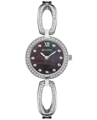 Bulova Women's Crystal Accent Stainless Steel Bangle Bracelet Watch 26Mm 96L224 Silver