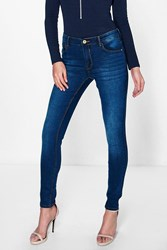 Boohoo 5 Pocket High Rise Supersoft Skinny Jeans Indigo