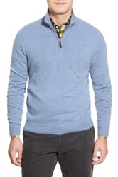 John W. Nordstrom Quarter Zip Cashmere Sweater Regular And Tall Blue