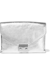 Loeffler Randall Metallic Textured Leather Clutch Silver