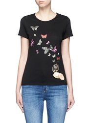 Alexander Mcqueen Moth And Skull Print T Shirt Black Multi Colour