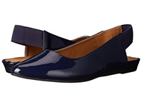 Kenneth Cole Reaction Step Sling Navy Patent Women's Dress Flat Shoes Blue