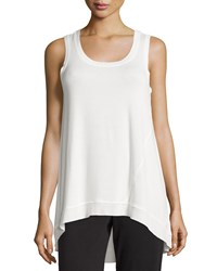 Neiman Marcus Active High Low Rib Trim Knit Tank Ivory