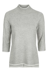 Topshop Double Faced Funnel Tunic Grey Marl