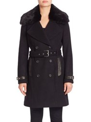 Andrew Marc New York Trench Coat With Detachable Fur Collar Black