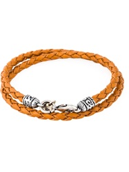 Eleventy Woven Leather Bracelet Nude And Neutrals
