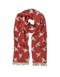 Vivienne Westwood Absence Of Orbs Print Wool Blend Stole Red