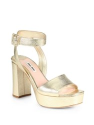 Miu Miu Madras Metallic Leather Ankle Strap Platform Sandals Gold