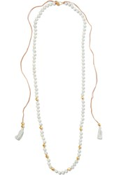 Chan Luu Tasseled Gold Plated Amazonite Necklace Mint