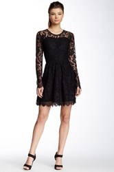 Madison Marcus Lace Fit And Flare Silk Dress Black