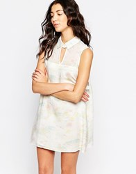Rvca Printed Shirt Dress With Cut Out Detail White