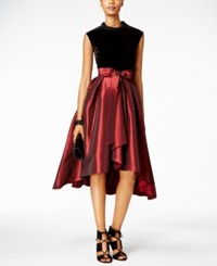 Si Fashions Sl Velvet Taffeta Fit And Flare Dress Black Red