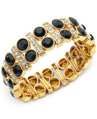 Anne Klein Gold Tone Stone And Pave Stretch Bracelet Jet