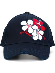 Dsquared2 Flower Applique Baseball Cap Blue