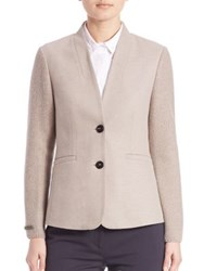Peserico Knit Sleeve Double Button Blazer Taupe