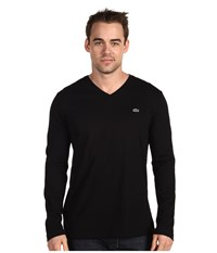 Lacoste Long Sleeve Pima Jersey V Neck T Shirt Black Men's T Shirt