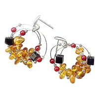Goldmajor Amber Sterling Silver And Coral Stud Earrings Silver Orange