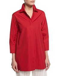 Max Mara 3 4 Sleeve Side Slit Cotton Blouse Red Women's Size 14