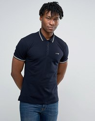 Armani Jeans Polo Shirt With Tipping In Slim Stretch Fit Navy Navy