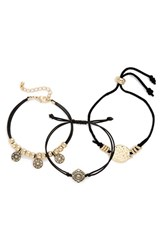 Topshop Women's Coin Charm Cord Bracelets Set Of 3