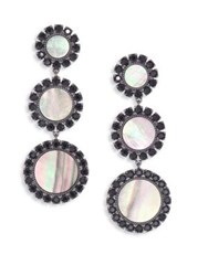 Tory Burch Deco Flower Crystal And Mother Of Pearl Drop Earrings