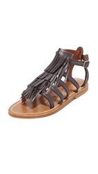 K. Jacques Fringe Sandals Velam Anthracite
