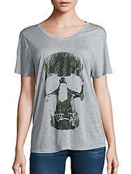 Haute Hippie Skull Graphic T Shirt Light Heather