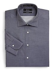 Saks Fifth Avenue Black Slim Fit Chambray Cotton Button Front Shirt Blue