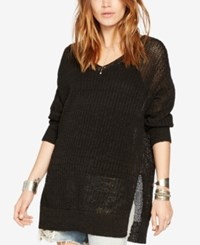 Denim And Supply Ralph Lauren Open Knit V Neck Tunic Black