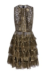 Elie Saab Short Gold Dress With Ruffles And Stars Macrame