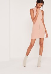 Missguided Zip Front Ribbed Mini Dress Nude Beige