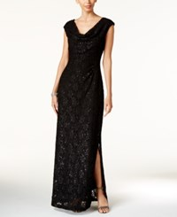 Connected Sequined Lace Cowl Neck Gown Black