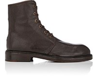 Elia Maurizi Men's Grained Leather Lace Up Boots Dark Brown Brown Dark Brown Brown