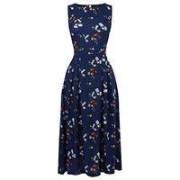 Warehouse Spaced Floral Open Back Dress Blue Pattern