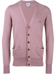 Vivienne Westwood Man Embroidered Logo Cardigan Pink And Purple