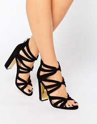 Head Over Heels By Dune Micha Gold Detail Heeled Sandals Black