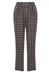 Quiz Navy Retro Print Zip Trouser