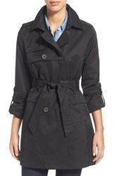 Vince Camuto Women's Roll Sleeve Double Breasted Trench Coat Black
