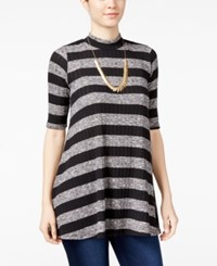 Amy Byer Bcx Juniors' Striped Mock Neck Tunic Top Black