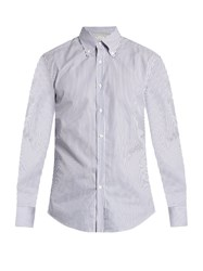 Brunello Cucinelli Button Cuff Cotton Poplin Shirt Blue White